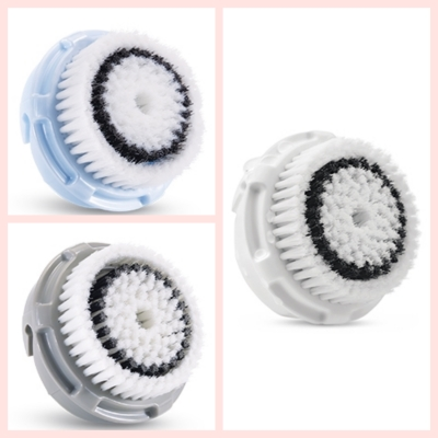A destra la testina venduta con il Clrisonic, ovvero la Sensitive Brush Head, a sinistra in alto la testina Delicate e in basso la Normal